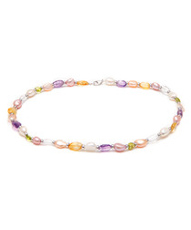 0.6cm multi-colour pearl necklace