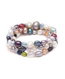 Multi-coloured mixed pearl bracelet