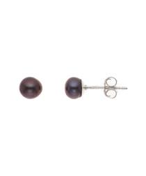 0.4cm black freshwater pearl earrings