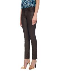 Copper cotton blend skinny jeans