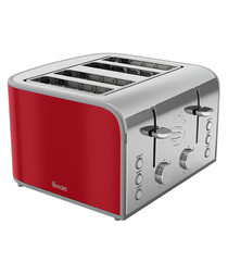 Red four-slice toaster