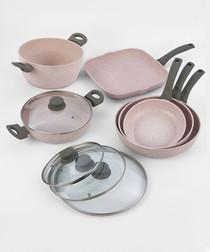Image of 10pc grey aluminium pan set
