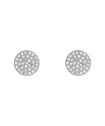 Silver-plated crystal disc earrings