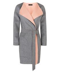 Grey & pink pure wool reversible coat