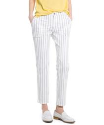 Platano white stripe cotton trousers