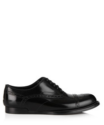 Men's black leather perforated Oxfords