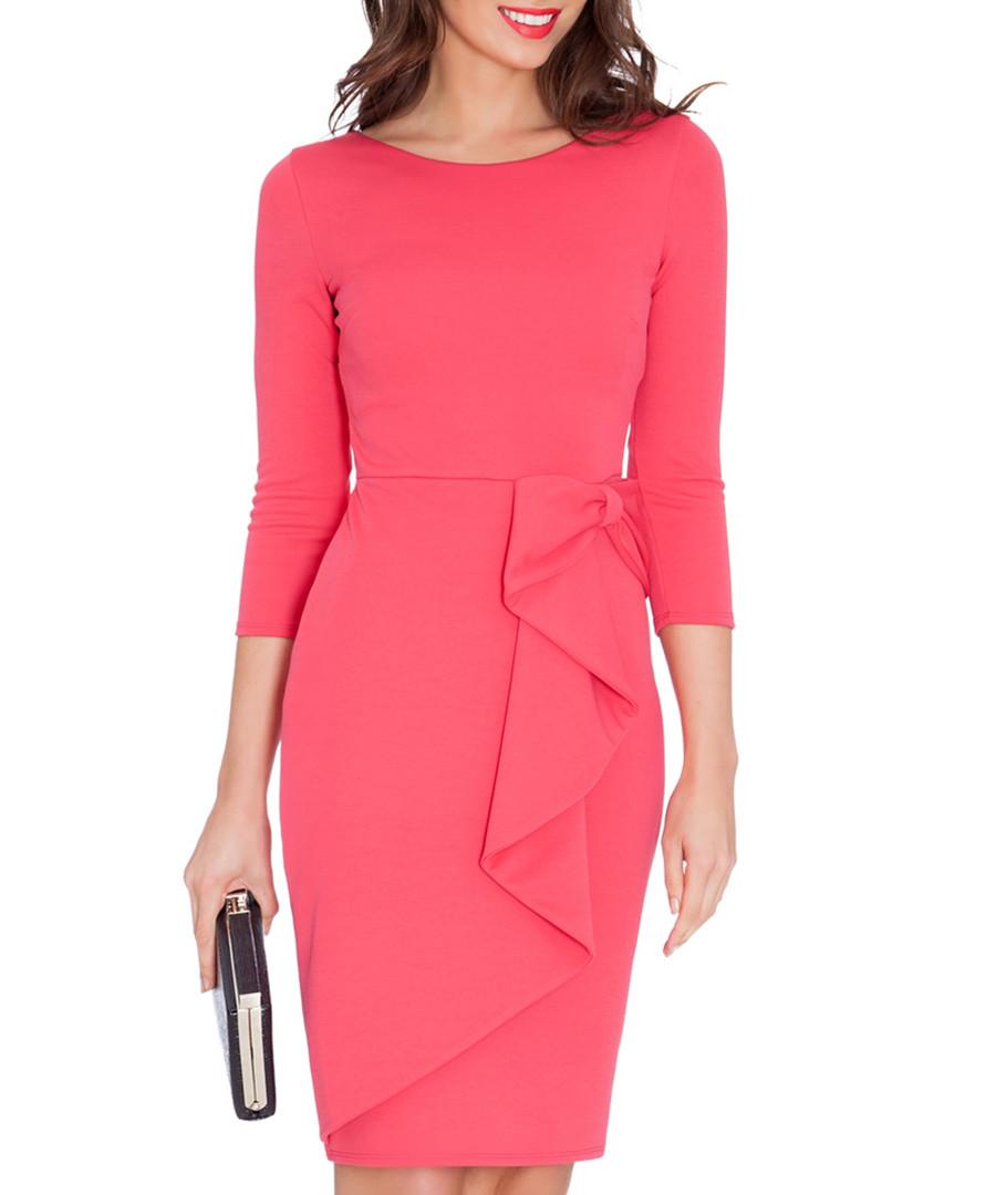 Goddiva coral waterfall peplum midi dress designer for Waterfall design dress