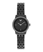Black crystal bezel ceramic watch