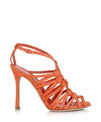 Orange suede strappy heeled sandals