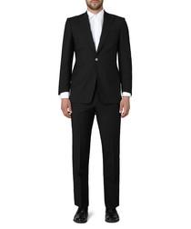 2pc black wool & mohair blend suit