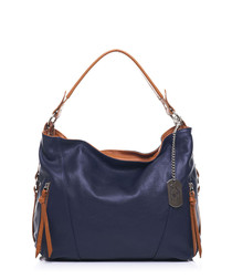 Navy leather two-tone shoulder bag