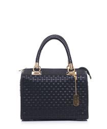 Black leather weave-effect grab bag