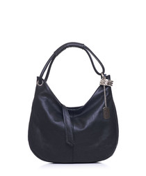 Midnight leather slouch shoulder bag