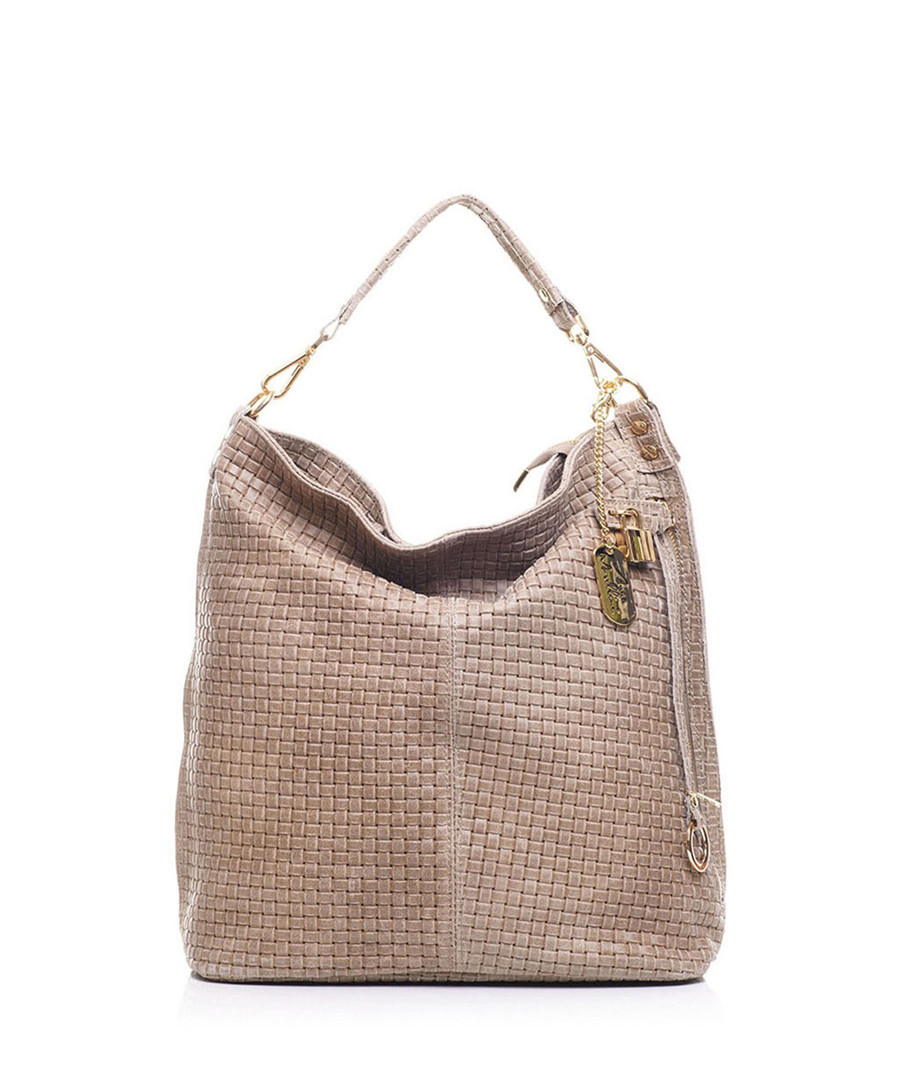 Taupe leather braided shoulder bag Sale - anna morellini