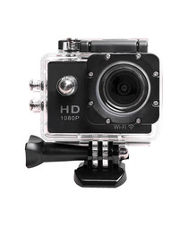 Image of Black HD sports camera & accessories