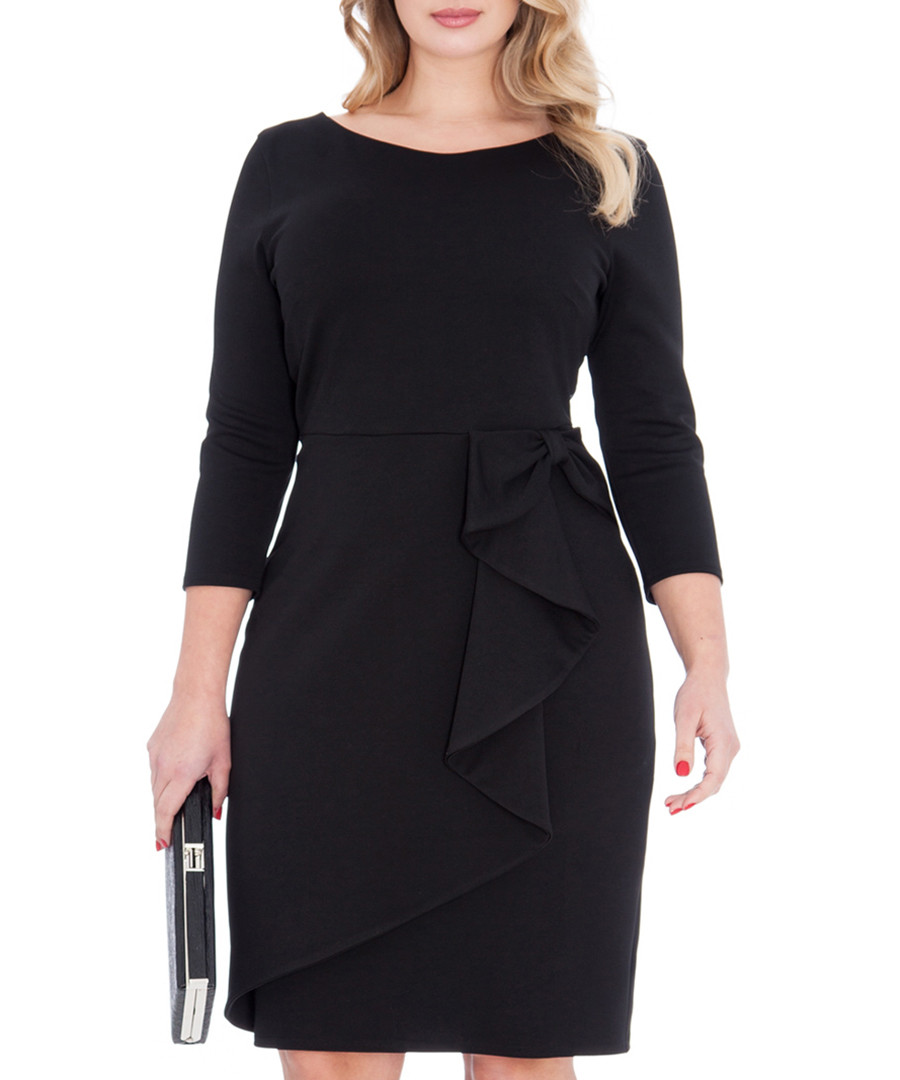 Goddiva plus black waterfall waist dress designer dresses for Waterfall design dress