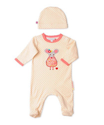 Girl's Margot newborn playsuit & hat
