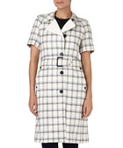 Earnshaw wool blend checked trench coat