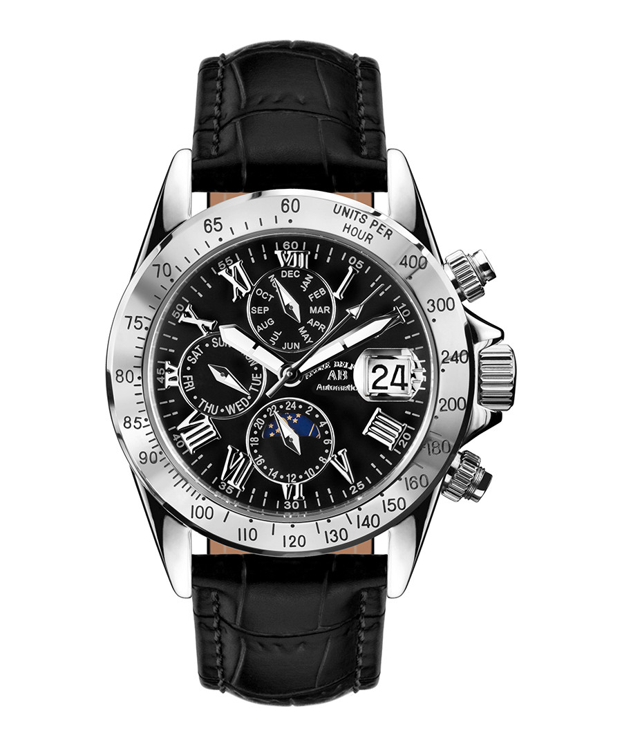 Le Capitaine black leather watch Sale - andre belfort