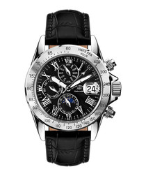 Le Capitaine black leather watch