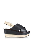 Essex navy leather wedges