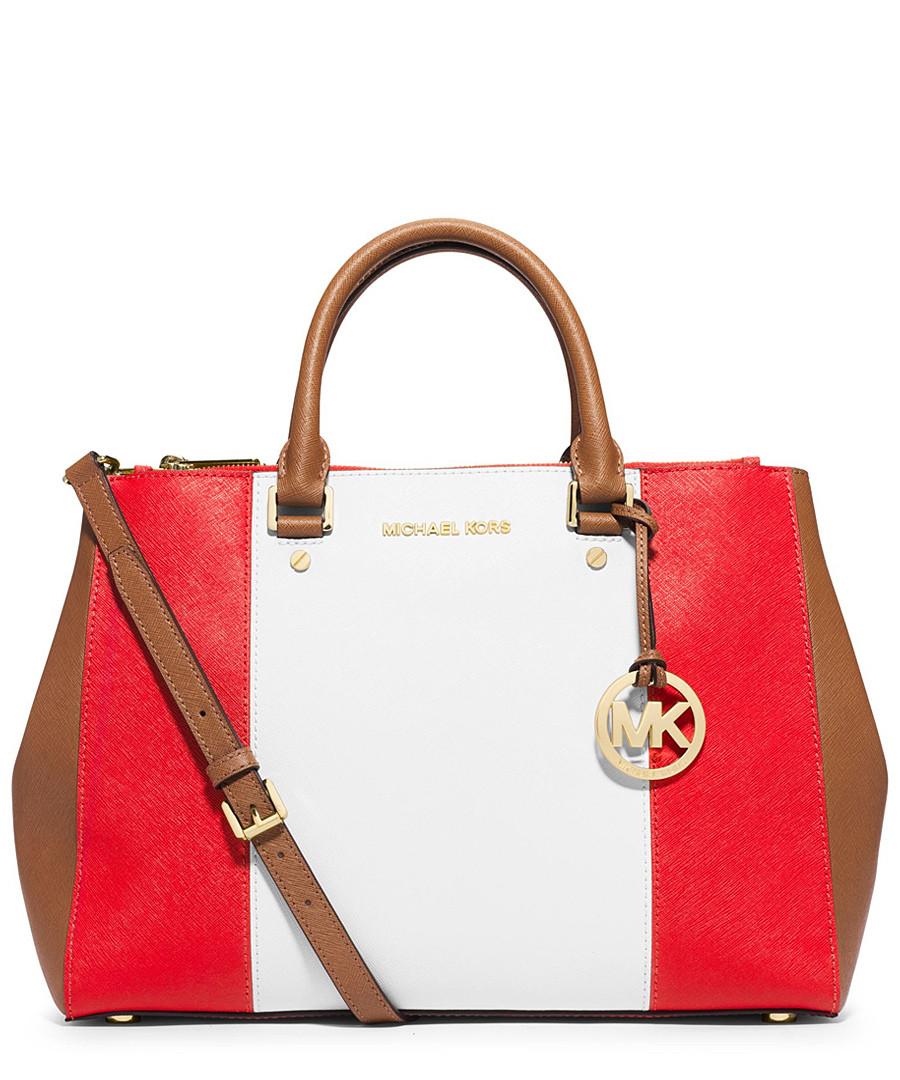 57455b128a michael kors red and white bag