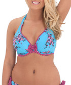 Beach Bloom blue halterneck bikini top