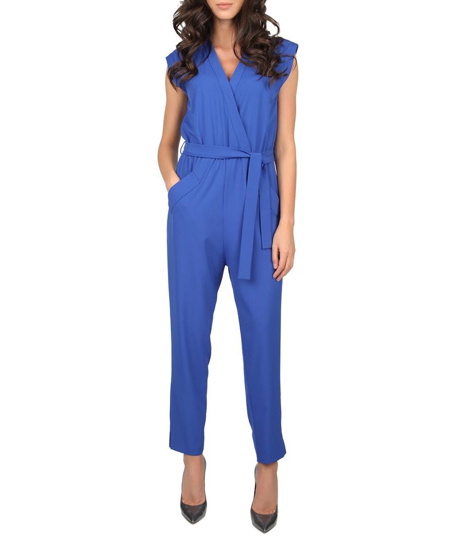 Royal blue wrap V-neck jumpsuit Sale - grazia
