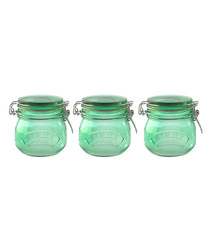 Image of 3pc green clip top jar set 500ml