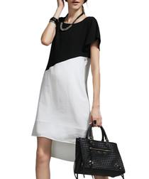 Black asymmetric colour block dress