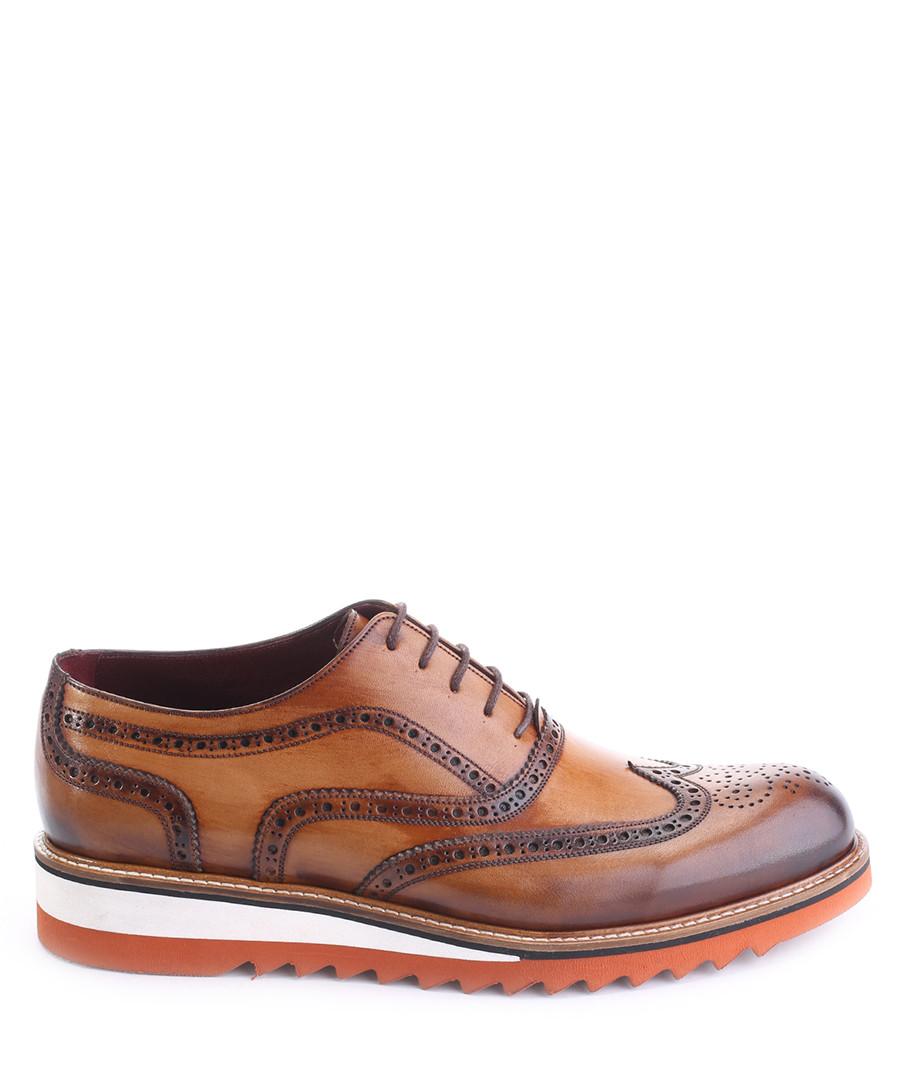 Brown leather contrast sole brogues  Sale - deckard