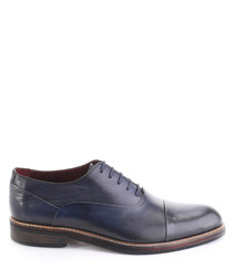 Navy leather lace-up oxfords