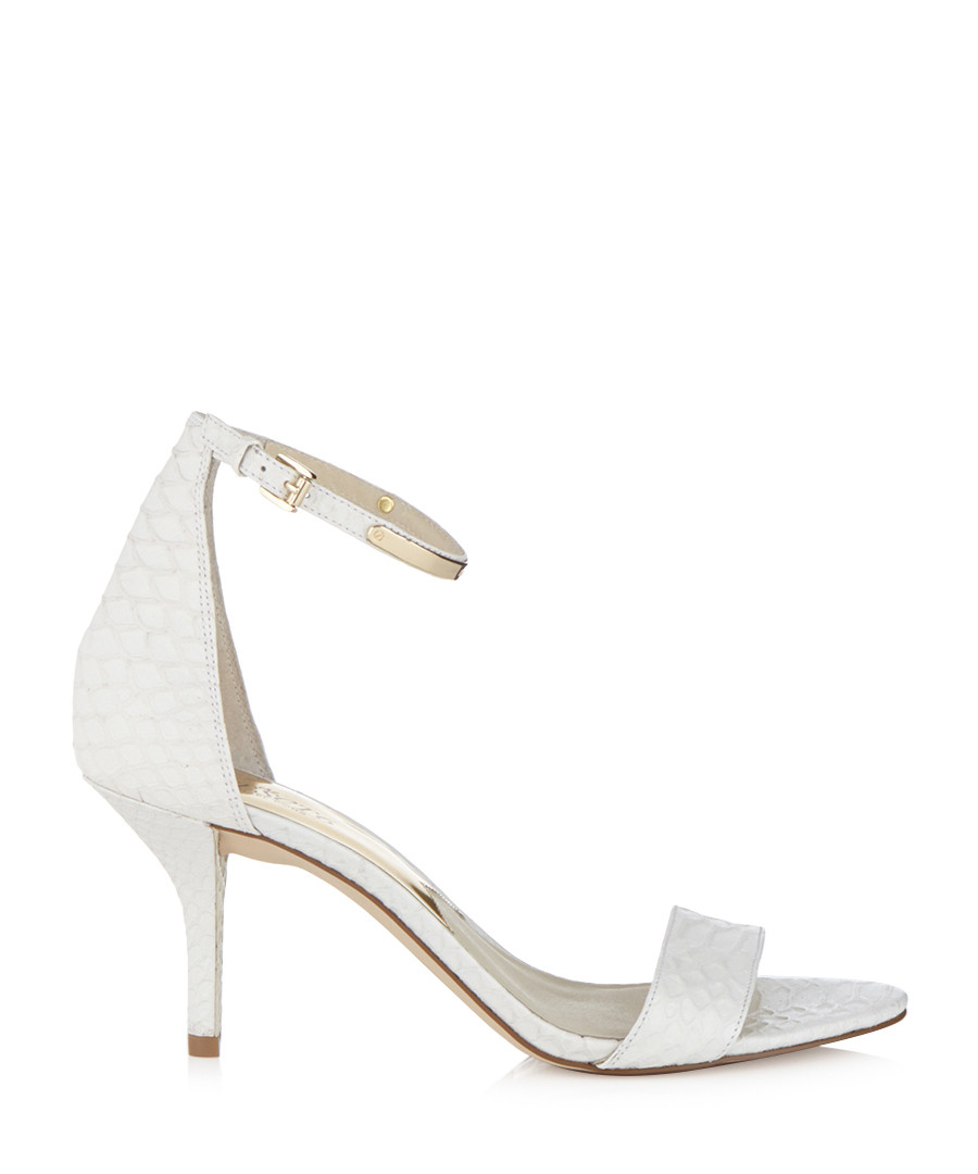Discount Kristen white leather sandal mid heels | SECRETSALES