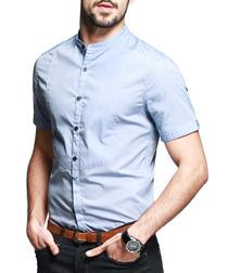 Blue pure cotton collarless shirt