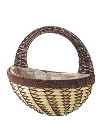Image of Brown & cream wall basket hanger