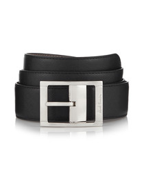 Black & grey leather reversible belt