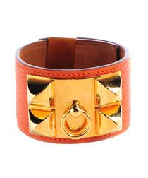 18ct gold-plated orange leather bangle