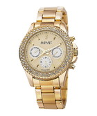 Gold-tone crystal bezel bracelet watch