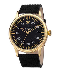 Gold-tone & black canvas strap watch