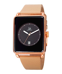 Tan leather & rose square watch