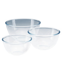 Image of 3pc Clear glass bowl set