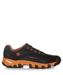 Black & orange mesh sneakers