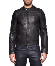 Men's John black washed leather jacket