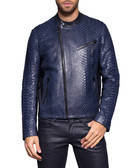 Men's Mario blue python leather jacket