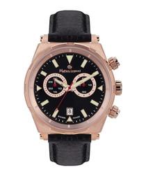 Master black & rose gold-tone watch