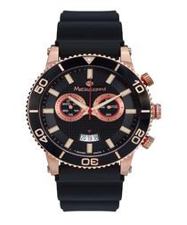 Immergée black & rose gold-tone watch