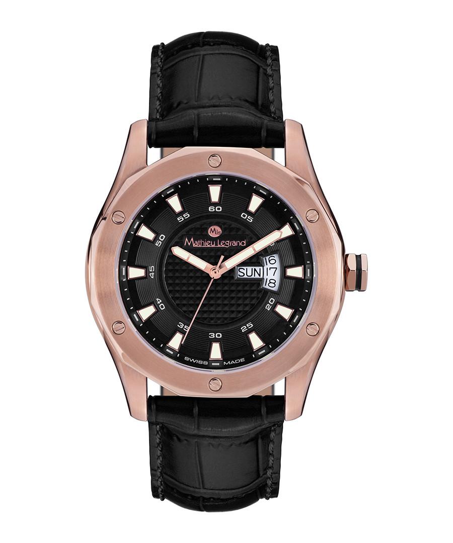 Dodécagone black & rose gold-tone watch Sale - mathieu legrand