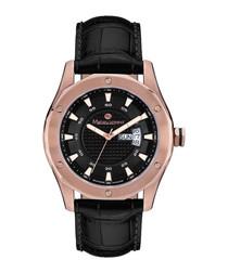 Dodécagone black & rose gold-tone watch