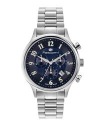 Métropolitain silver-tone & blue watch