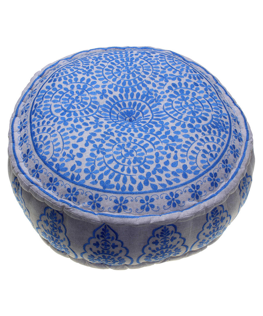 Nomad blue linen embroidered pouf Sale - bombay duck